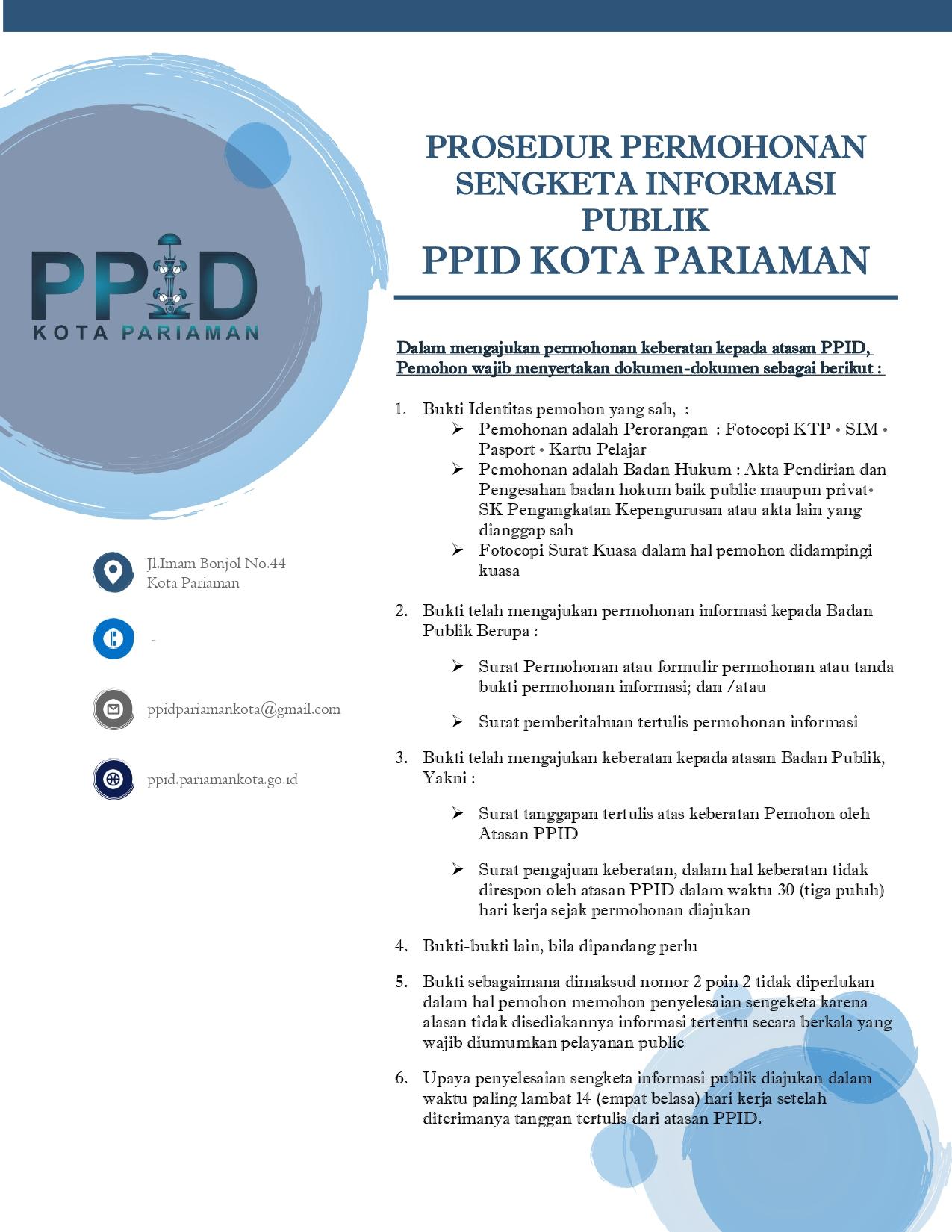 Prosedur Permohonan Sengketa Informasi Publik